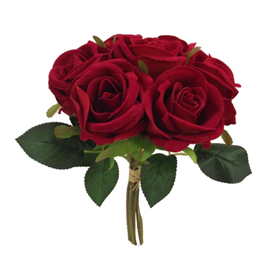 Velvet Touch Open Rose Bundle - 25cm (Red)