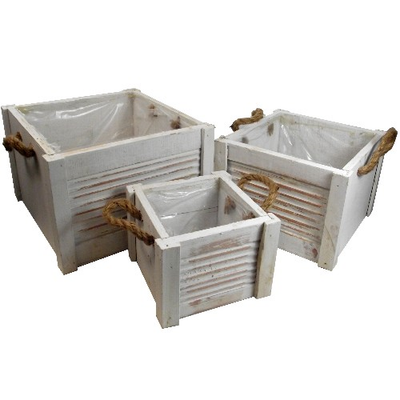 Set of 3 Square Wooden Planters with Rope Handles