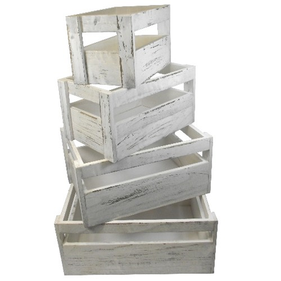 Set of 4 Weathered Effect Wooden Crates - White