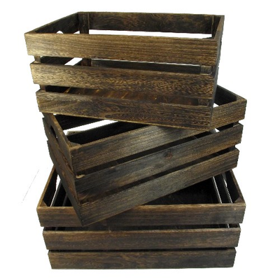 Set of 3 Large Brown Wooden Crates