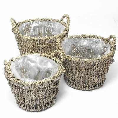 Set of 3 Round Seagrass Baskets (Plastic Lined with Ears)