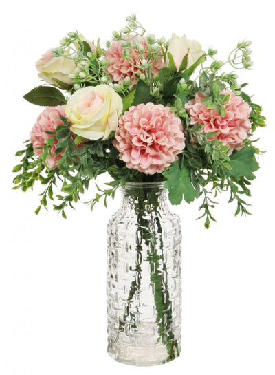 Chrysanthemum & Rose Arrangement in Woven Vase - 58cm (Pink/Cream)