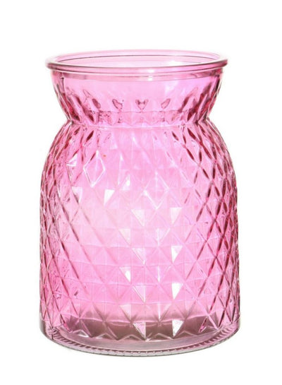 Waisted Decorative Vase - 16cm (Pink)