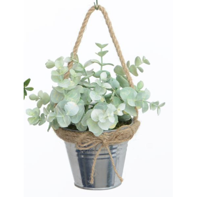 Eucalyptus with Metal Pot - 19cm