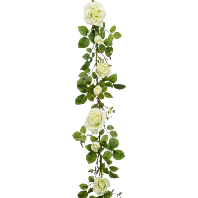 Plush Rose Garland - 6ft (Cream)