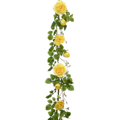Plush Rose Garland - 6ft (Yellow)