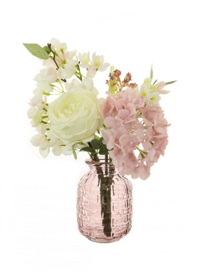 Rose Blossom Arrangement - 40cm (Cream/Pale Pink)