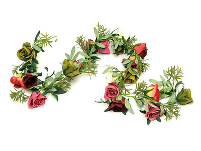 Rustic Rose Garland - 1.8m (Cream/Pink/Burgundy)
