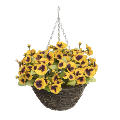 Pansy Hanging Basket - Dark Yellow