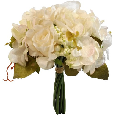 Rose & Hydrangea Bundle with Autumn Foliage - 28cm (Cream)