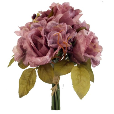 Rose & Hydrangea Bundle with Autumn Foliage - 28cm (Mauve)