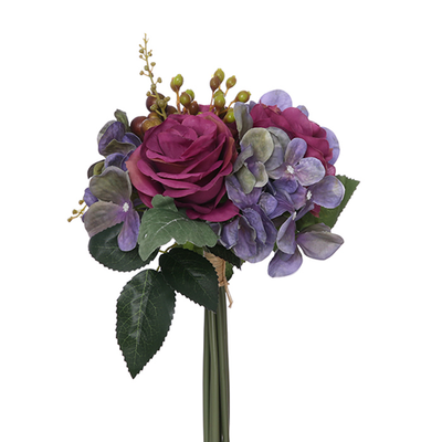 Rose, Hydrangea & Berry Bundle with Autumn Foliage - 28cm (Purple/Wine)