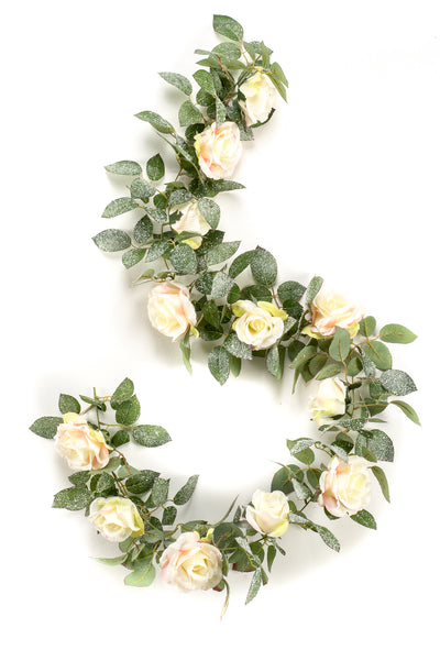 Luxury Rose Garland with Snow - 1.8m (Cream/Peach)
