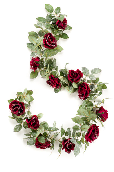 Luxury Rose Garland with Snow - 1.8m (Deep Red)