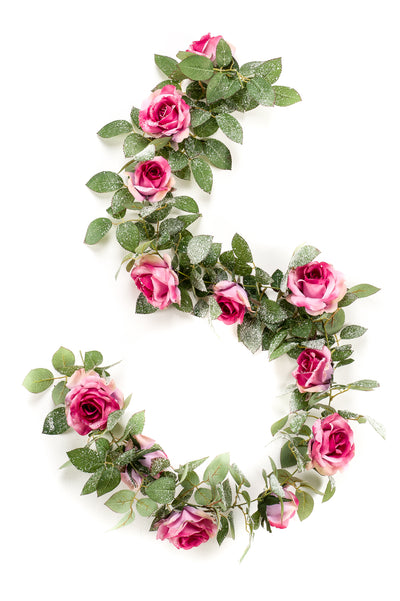 Luxury Rose Garland with Snow - 1.8m (Pink/Purple)