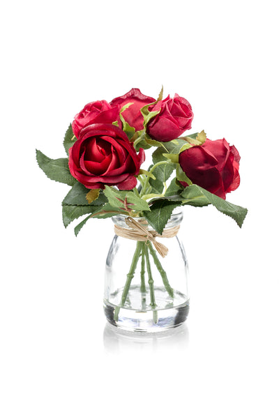 5 Small Roses in Glass Jar - 18cm (Red)