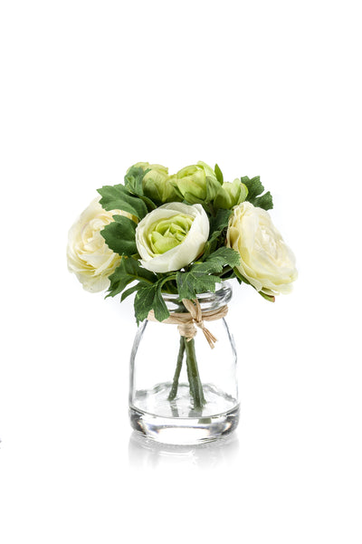 Ranunculus in Glass Jar - 15cm (Cream/Green)