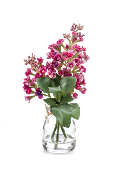 Syringa in Glass Jar - 22cm (Pink/Lilac)