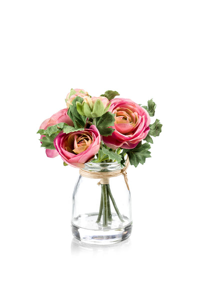 Ranunculus in Glass Jar - 15cm (Pink)