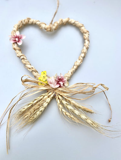 Raffia hanging heart with floral detailing