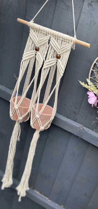 Macrame Double Pot Holder