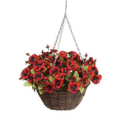Pansy Hanging Basket - Red