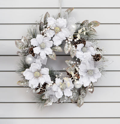 Magnolia & Ribbon Wreath - 48cm (Silver)
