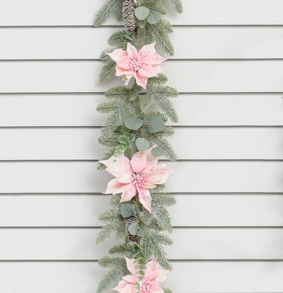 Poinsettia & Pine Garland - 6ft (Pink)