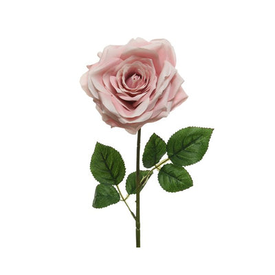 Blush Pink Rose on Stem - 53cm