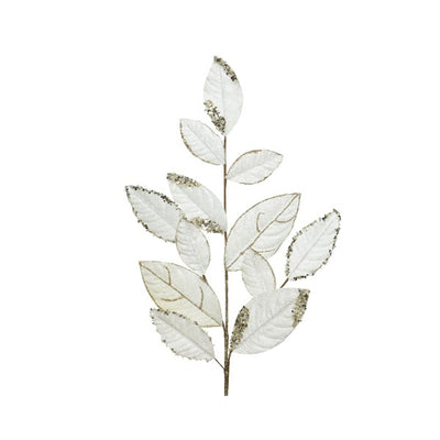 Pearl & Gold Glitter Trim Leaf Spray - 75cm