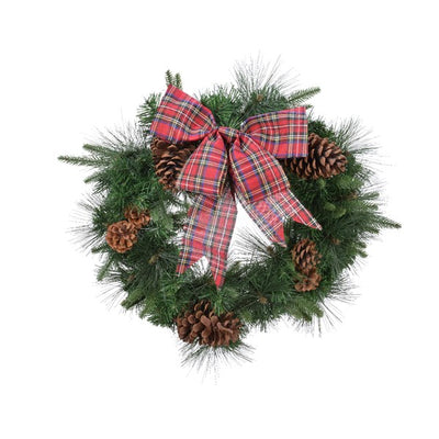 Mixed Greens Wreath with Tartan Bow Detailing - 75cm