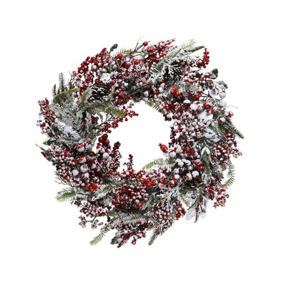Frosted Wreath with Berries - 60cm