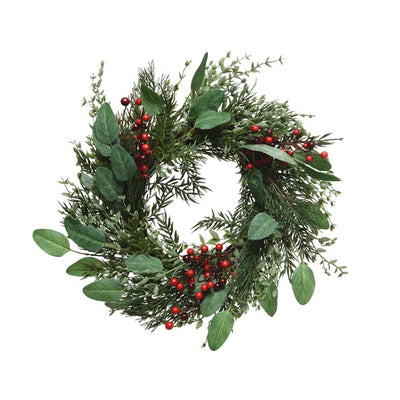 Mixed Greens Wreath with Red Berries - 60cm