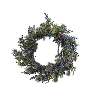 Frosted Greens Wreath with Blueberries - 60cm