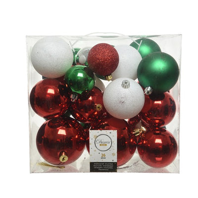 Traditional Mixed Christmas Baubles - 26 pack