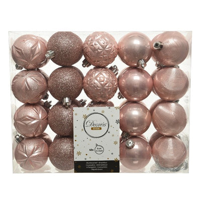 Blush Pink Christmas Baubles - 40 pack