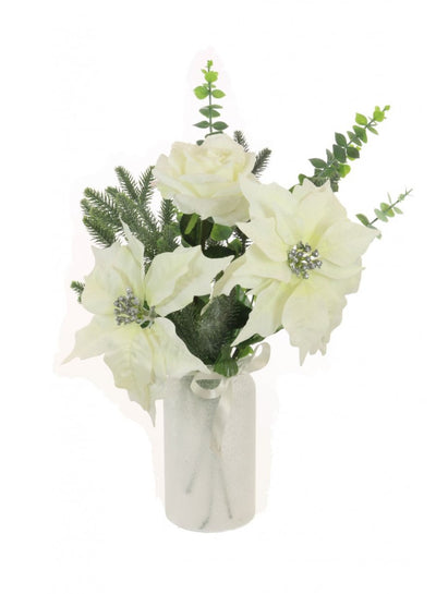 Ivory Poinsettia Vase Arrangement - 56cm
