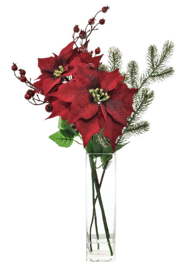 Red Poinsettia & Pine Vase Arrangement - 58cm