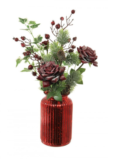 Frosted Rose & Berry Arrangement - 50cm