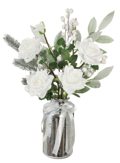 White Rose & Snowberry Arrangement - 55cm