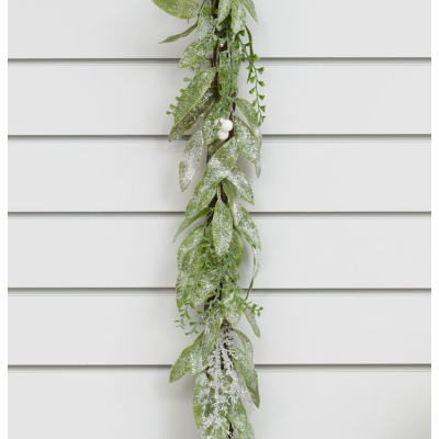 Frosted Leaf/Spray Garland - 1.8m