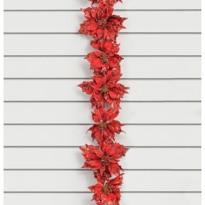 Red Poinsettia Garland - 1.8m