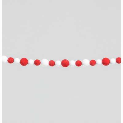 Red & White Flocked Ball Garland - 1.8m