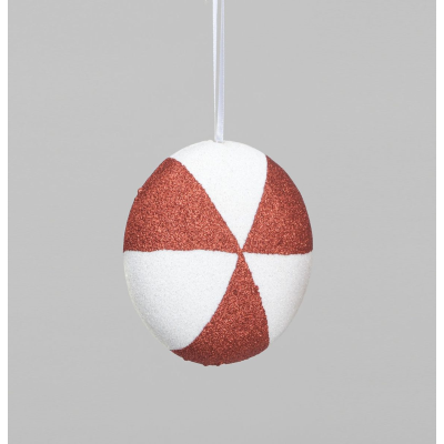 Red & White Disc Decoration - 13cm