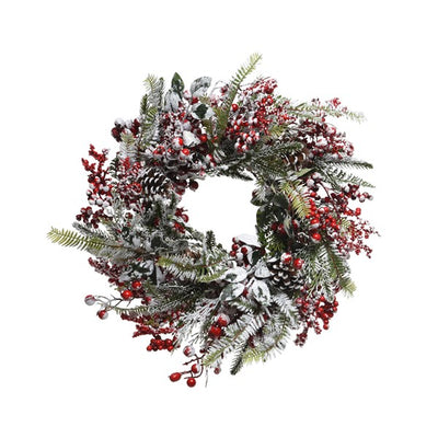 Frosted Red Berries Wreath - 40cm