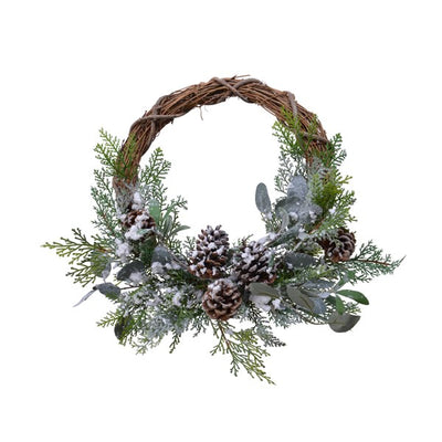 Frosted Decorative Pine Cone Wreath - 40cm