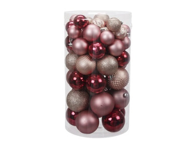 Tube of Pink Christmas Baubles - 60 pack (Assorted Sizes)