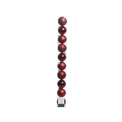 Pack of 10 Traditional Red Christmas Baubles (Assorted Styles)