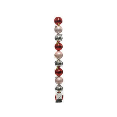 Pack of 10 Pink/Silver/Red Christmas Baubles