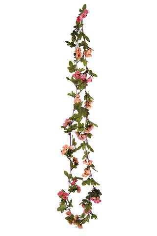 60 x Rose Bud & Leaf Garland - 2.3m (Salmon)